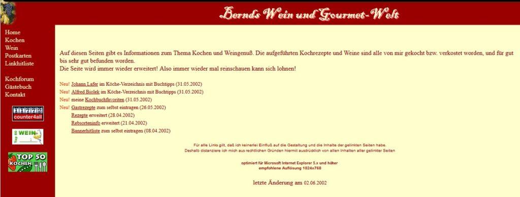 Erste Wein-Homepage 2002
