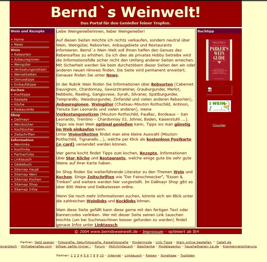 Überarbeitung Wein-Homepage 2004