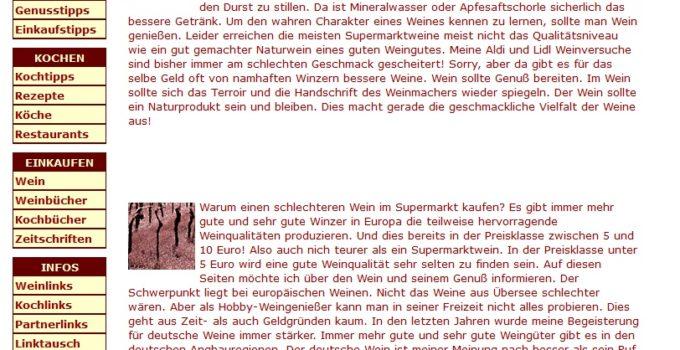 Zweite Überarbeitung der Wein-Homepage 2007