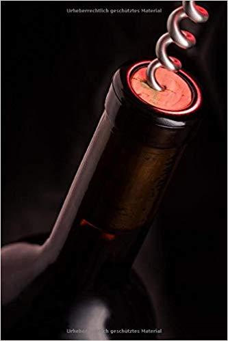 Notizbuch Weinflasche und Korkenzieher